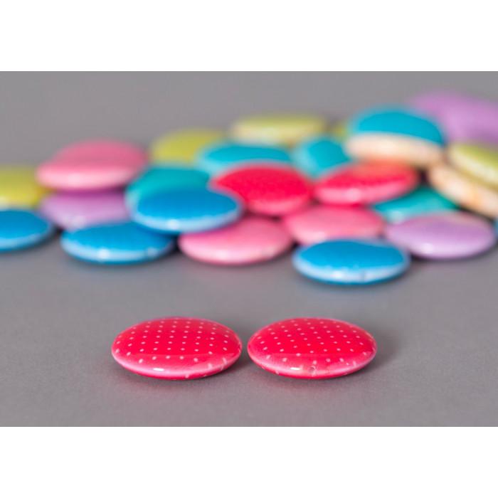 Perle pastille rouge ronde à petits pois x1