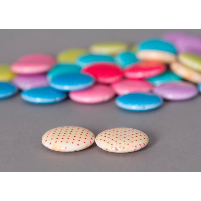 Perle pastille beige ronde à petits pois x1
