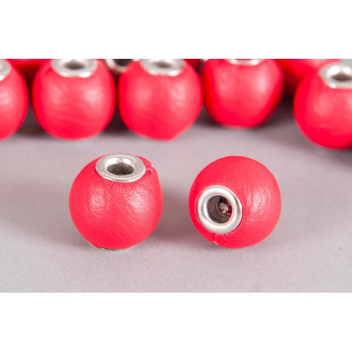 Perle Simili-cuir ronde 18mm à gros trou rouge