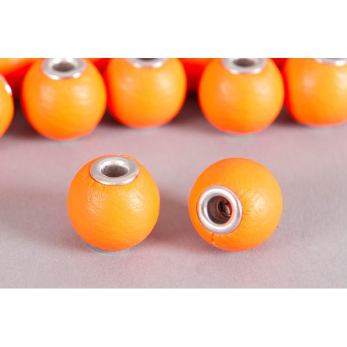 Perle Simili-cuir ronde 18mm à gros trou orange