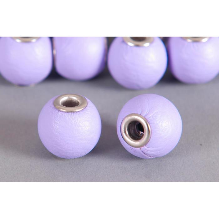 Perle Simili-cuir ronde 18mm à gros trou mauve
