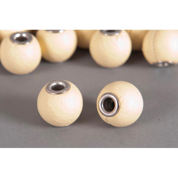 Perle Simili-cuir ronde 18mm à gros trou écru