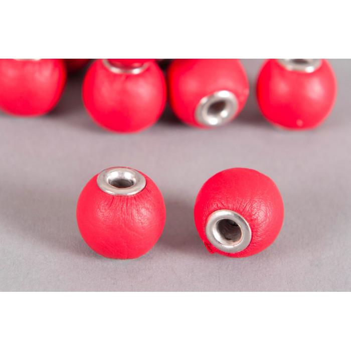 Perle Simili-cuir ronde 14mm à gros trou rouge