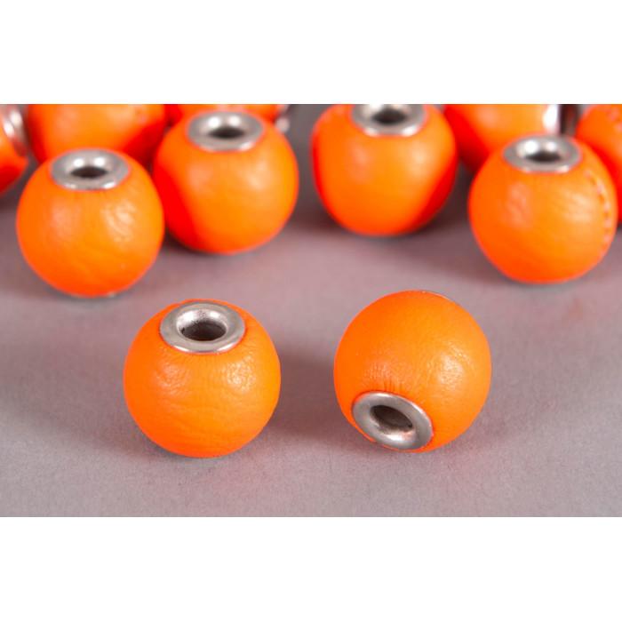 Perle Simili-cuir ronde 14mm à gros trou orange