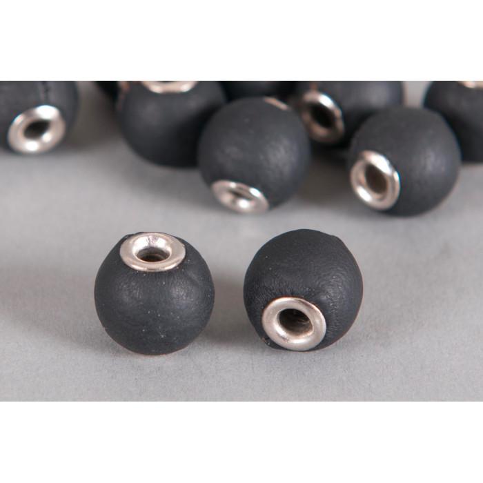 Perle Simili-cuir ronde 14mm à gros trou noir