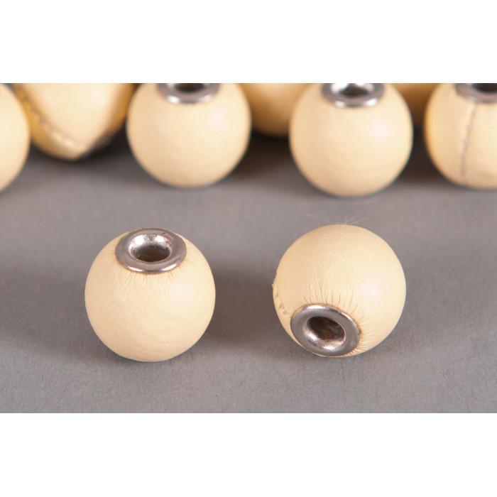 Perle Simili-cuir ronde 14mm à gros trou écru