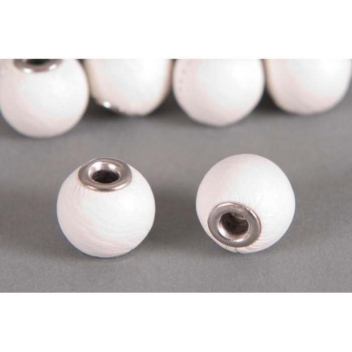 Perle Simili-cuir ronde 14mm à gros trou blanc