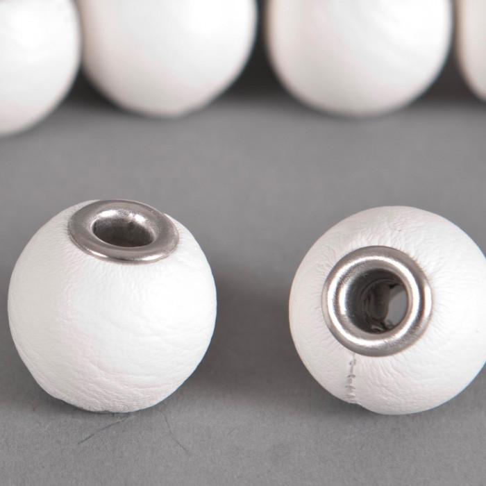 Perle Simili-cuir ronde 18mm à gros trou blanc