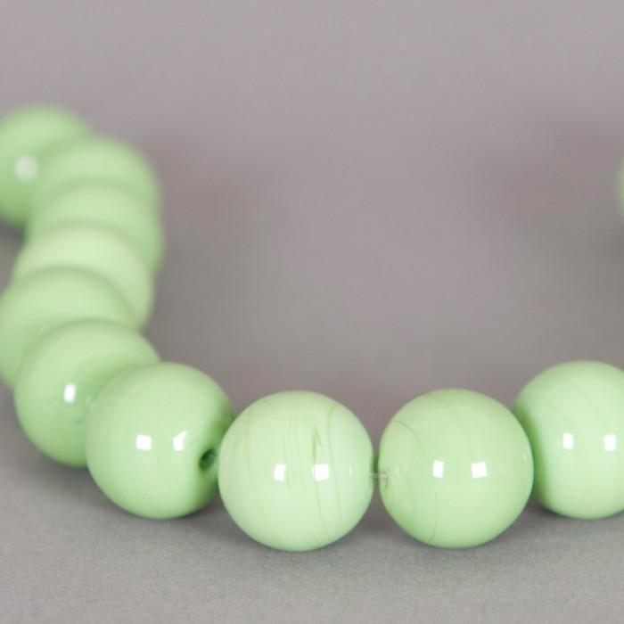 Perle en verre ronde 17mm vert x1