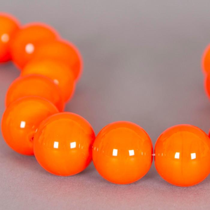 Perle en verre ronde 17mm orange x1
