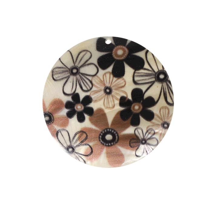 Pendentif en nacre motif fleur 50 mm x1
