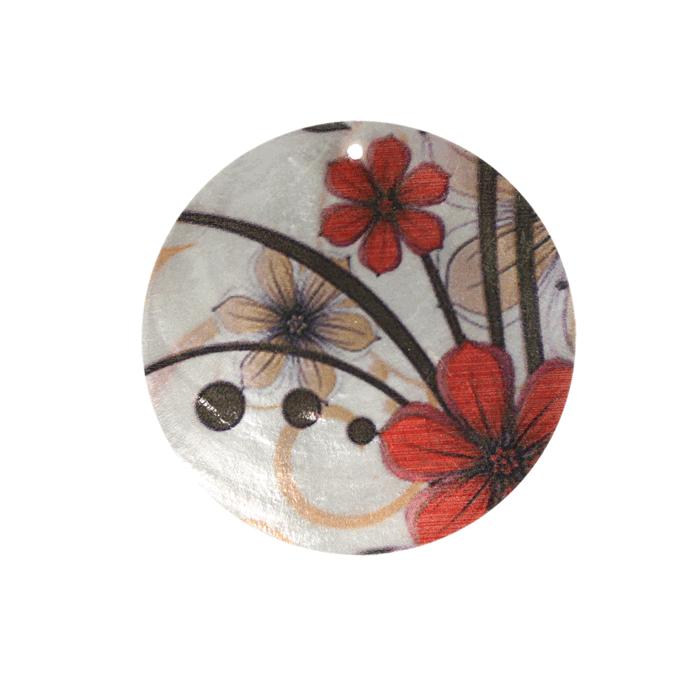 Pendentif en nacre motif fleur 50 x1