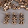 Breloque lapin strassé bronze x1