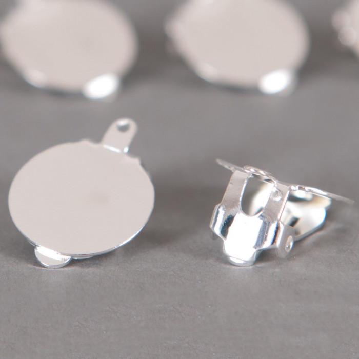 Boucles d'oreilles clips avec plateau 15mm argent x2