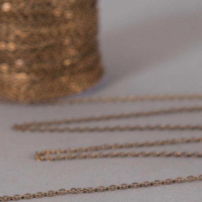 Chaîne maille forçat aplatie 2,5mm x 2mm bronze (x1m)