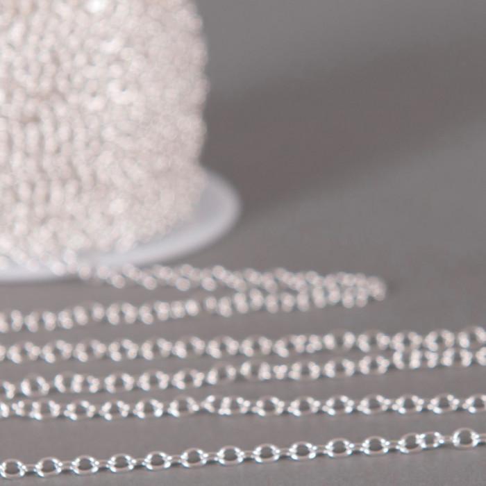 Chaîne maille jaseron 2.8mm x 3mm argent (x1m)