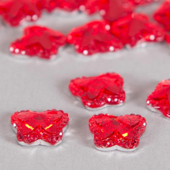 Cabochon papillon à facettes 13mm rouge x1