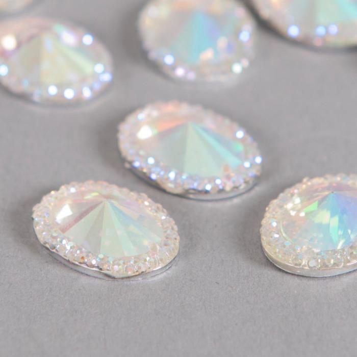 Cabochon ovale à facettes 18mm cristal AB x1