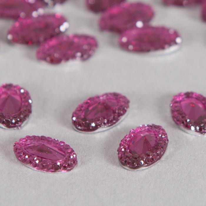 Cabochon ovale à facettes 15mm violet x1
