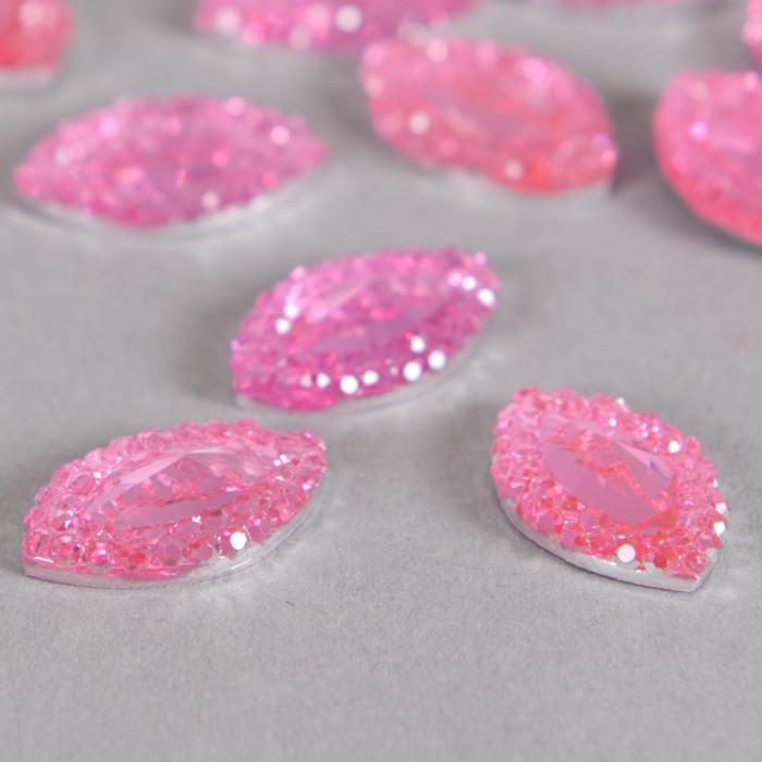 Cabochon ovale à facettes 15mm rose x1