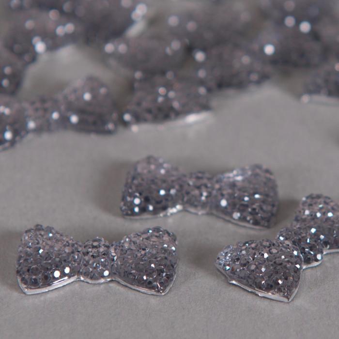 Cabochon noeud papillon droit à brillants 21mm gris x1