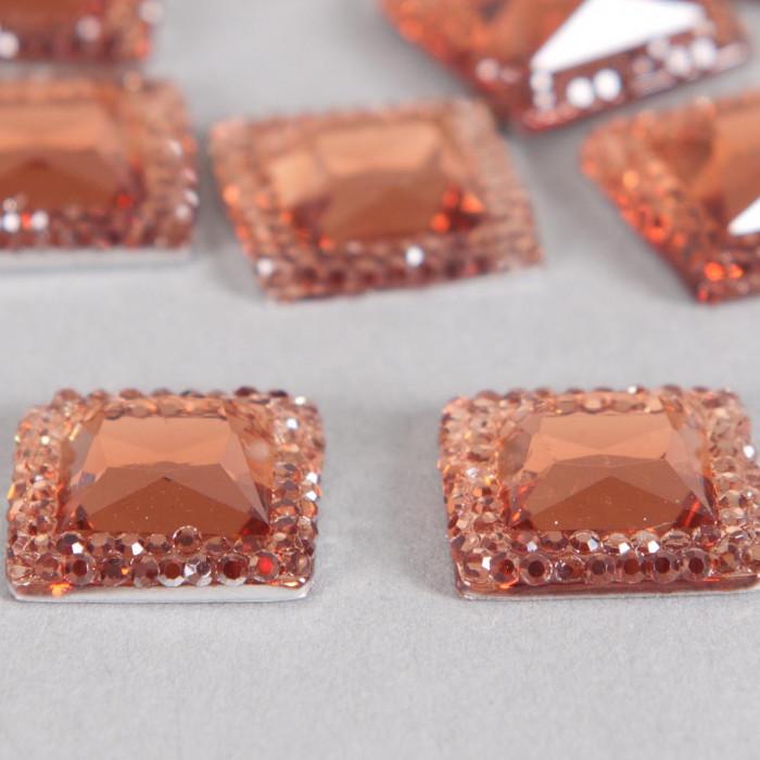 Cabochon carré à facettes 15mm marron x1