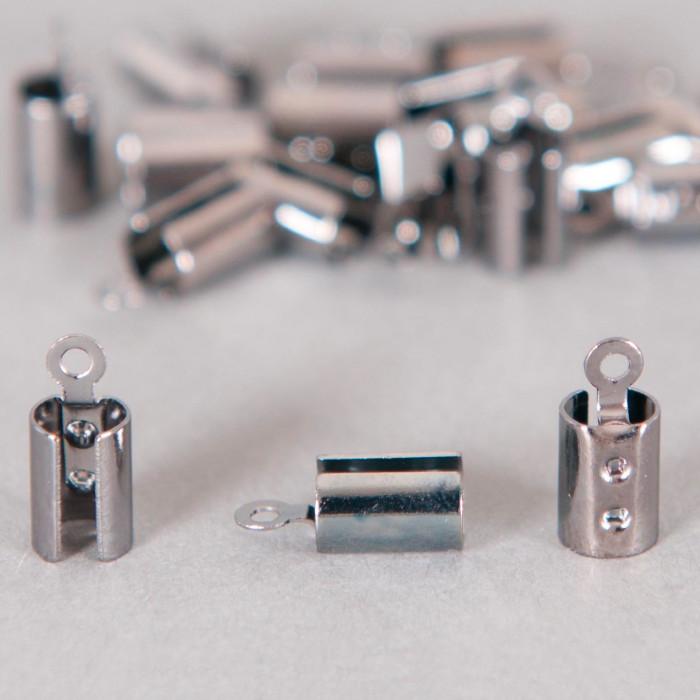 Embouts de serrage cordon argent noirci 5mm x10