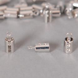 Embouts de serrage cordon argent 5mm x10