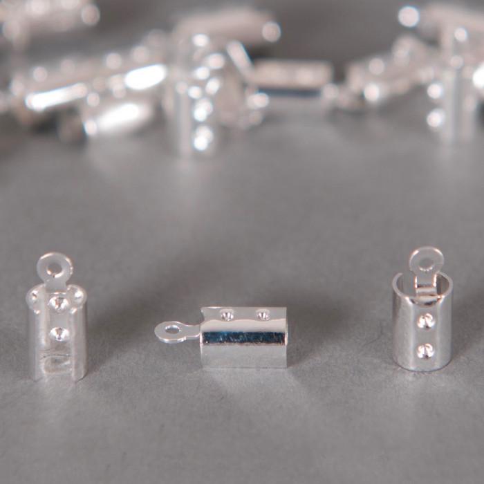 Embouts de serrage cordon argent 3mm x10