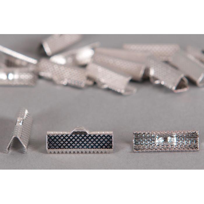 Embouts de serrage ruban argent 20mm x6