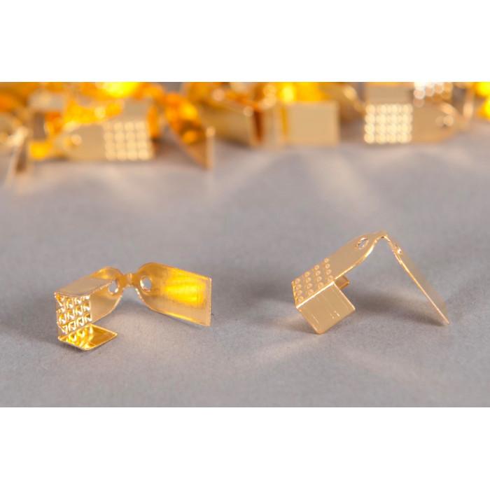 Embouts de serrage ruban 6mm doré x10