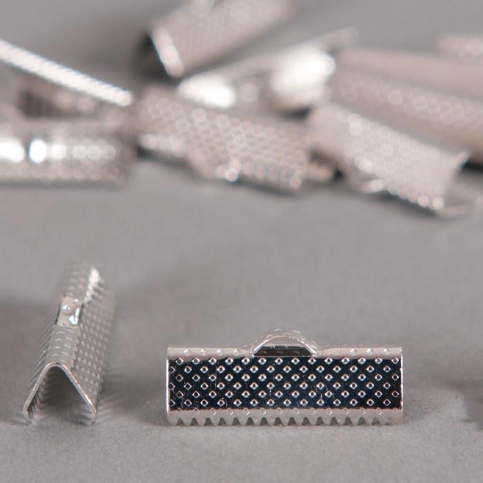 Embouts de serrage ruban argent vieilli 20mm x6