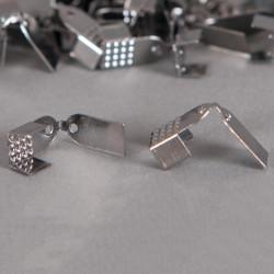 Embouts de serrage ruban 6mm argent noirci x10