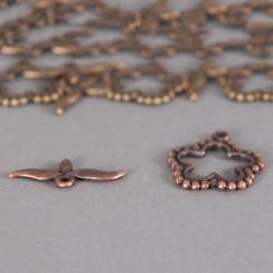 Fermoir en T fleurs 37mm cuivre
