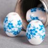 Perle en céramique Fleurie ovale bleu turquoisen 10mm x1