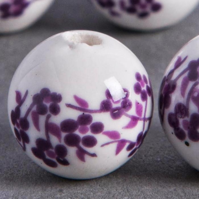 Perle en céramique Fleurie ronde Violette 20mm x1