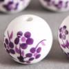 Perle en céramique Fleurie ronde Violette 12mm x1