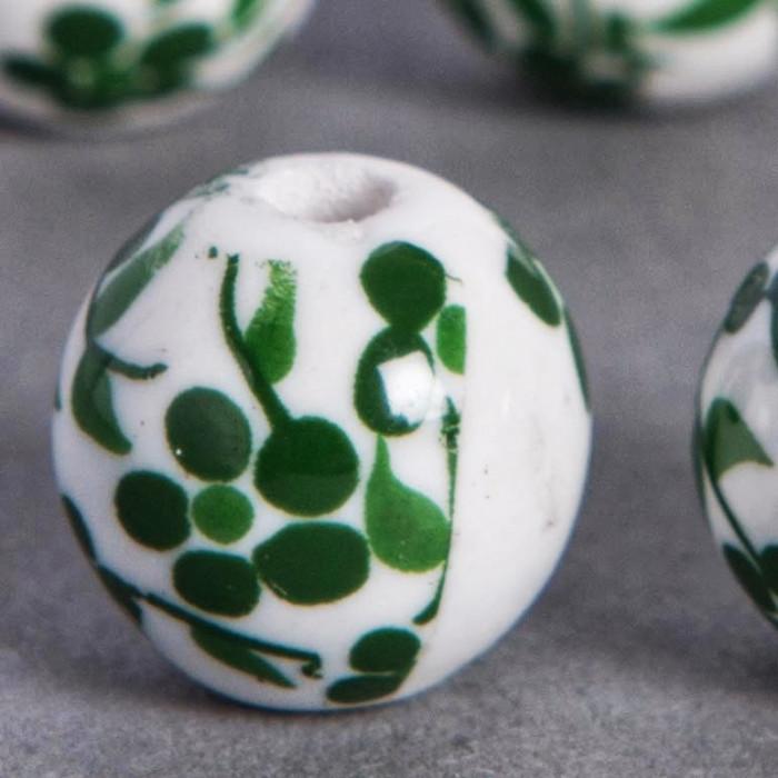 Perle en céramique Fleurie ronde Verte 20mm x1