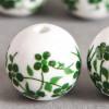 Perle en céramique Fleurie ronde Verte 12mm x1