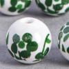 Perle en céramique Fleurie ronde Verte 10mm x1