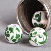 Perle en céramique Fleurie ronde Verte 8mm x1