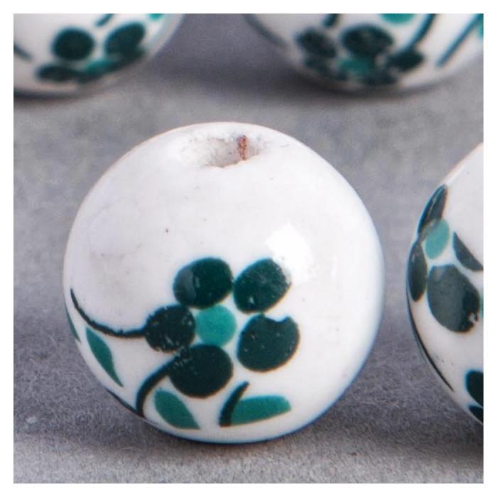 Perle en céramique Fleurie ronde Vert / Bleu foncé 16mm x1