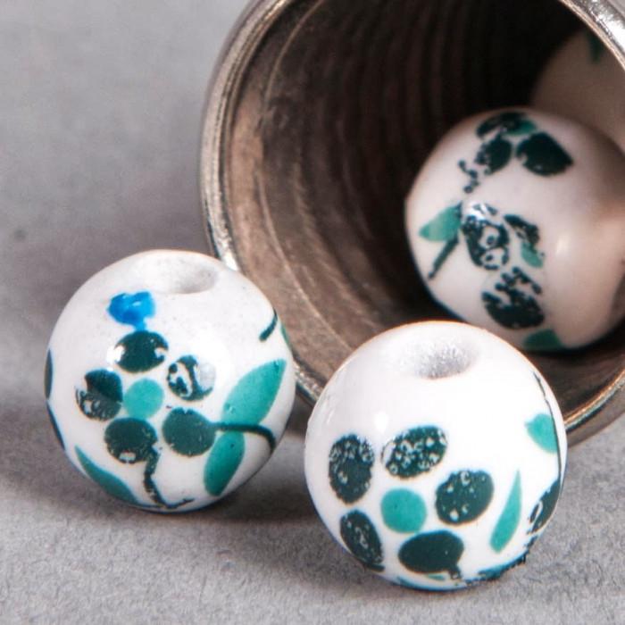Perle en céramique Fleurie ronde Vert / Bleu foncé 8mm x1