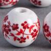 Perle en céramique Fleurie ronde Rouge 20mm x1