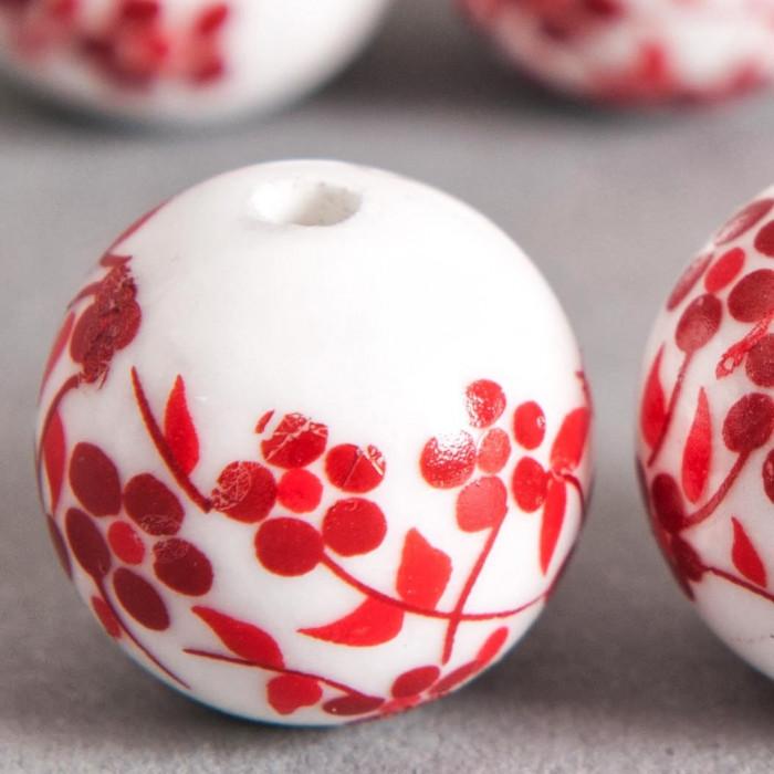 Perle en céramique Fleurie ronde Rouge 16mm x1
