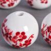 Perle en céramique Fleurie ronde Rouge 12mm x1