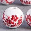Perle en céramique Fleurie ronde Rouge 10mm x1