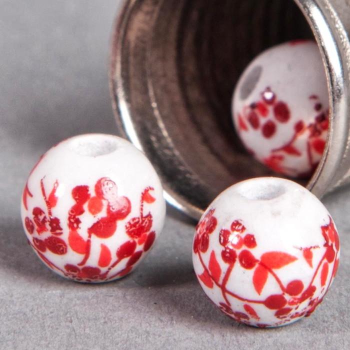 Perle en céramique Fleurie ronde Rouge 8mm x1