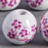Perle en céramique Fleurie ronde Rose 20mm x1