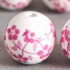 Perle en céramique Fleurie ronde Rose 16mm x1